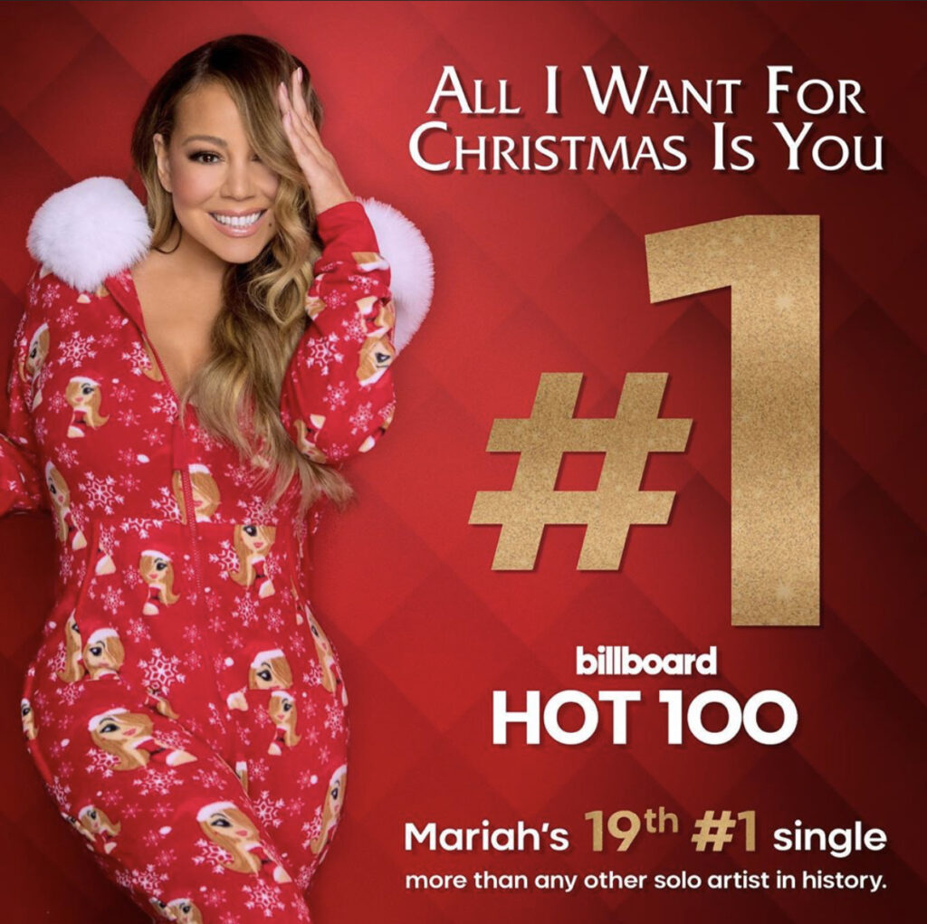 Mariah Carey - «All I Want for Christmas Is You» - первое место в чарте Billboard