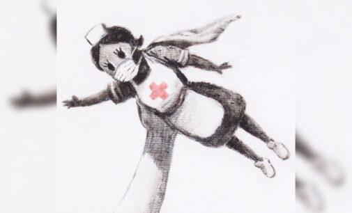 Искусство в наше время. Бэнкси изобразил врача в образе супергероя