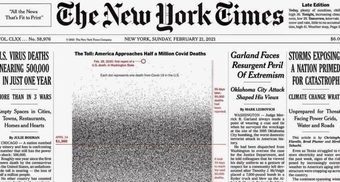 The New York Times напечатал 500 тыс. точек на первой полосе. Каждая из них — жертва коронавируса