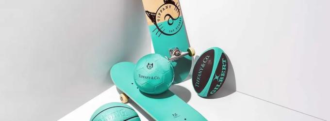Спорт и мода. Баскетбольный мяч, скейтборд и мяч для регби от Tiffany & Co